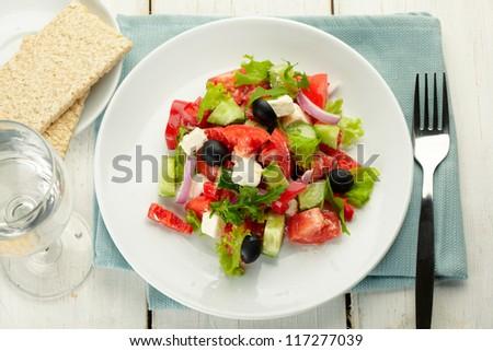 greek salad with bread