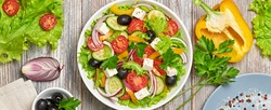 Greek salad with cucumeber, olives, feta cheese, cherry tomatoes, bell pepper and lettuce. Summer diet salad concept. Tasty greek salad in bowl on wood, top view, banner