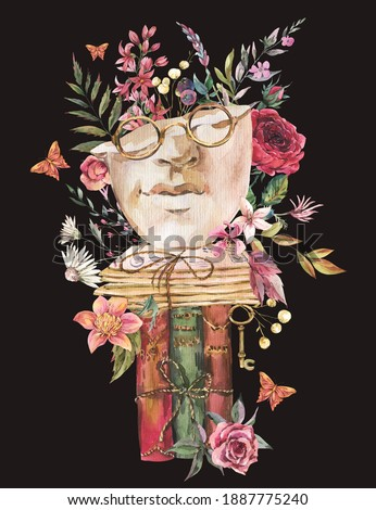 Greek sculpture with dry flowers greeting card. Dark academia floral vintage illustration. Butterfly, glasses, books, old key isolated on black background. Foto stock ©