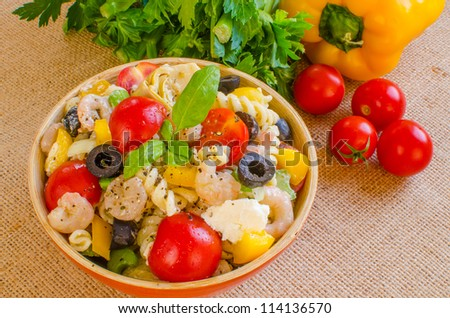 GREEK SHRIMP PASTA SALAD