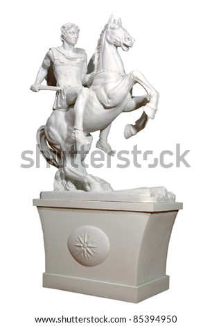 Greek statue of a warrior. Isolated background