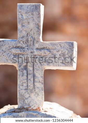 Greek stone cross on burial ground, architecture detail, Vathia Mani Greece