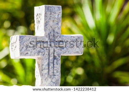 Greek stone cross on burial ground, architecture detail, Vathia Mani Greece