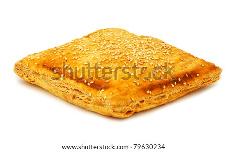 Greek style cheese pie. Isolated on white background