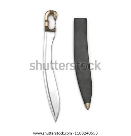 Greek Sword Falcata With Sheath 3D Illustration