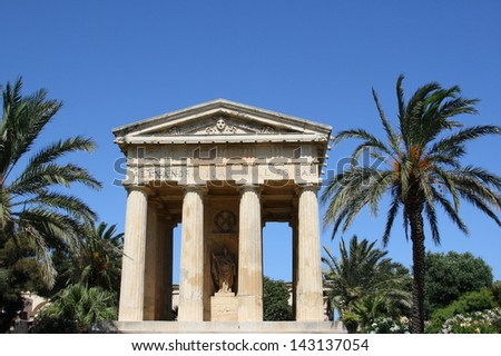 Greek temple in upper Barrakka garden of Valletta, Malta
