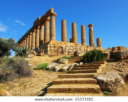 Greek temple of June, at Agrigento, Sicily
