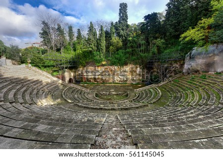 Greek Theater built for the 1929 Barcelona International Exposition. This amphitheater was built according to the traditional Greek model in Park de Montjuic. Zdjęcia stock ©
