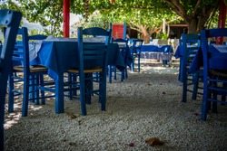 Greek traditional taverna on the street