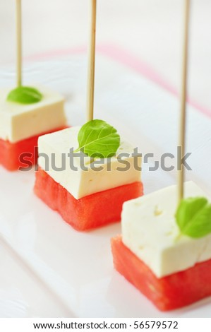 greek watermelon salad with feta cheese with and basil