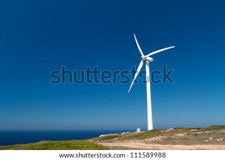 Greek windmill on the coast, Crete
