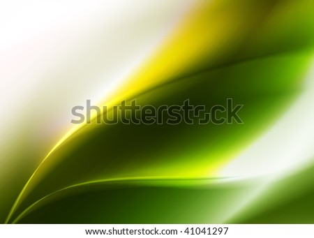Green abstract background with green abstract leaf contours
