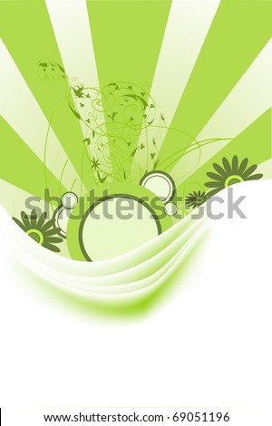 Green abstract backgrounds and grunge elements with ornament shapes.