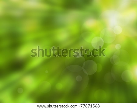 Green abstract blur nature background with sun rays - stock photo