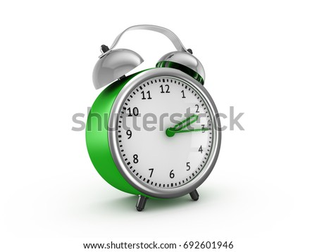 green alarm clock show 2 hours and 15 minutes 3d rendering isolated