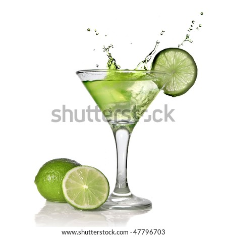 Green alcohol cocktail with splash and green lime isolated on white #47796703