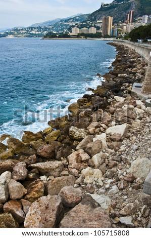 Green algae covered rocks along the coastline of the Monaco principality.