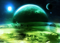 Green Alien World - Elements of this image furnished by NASA