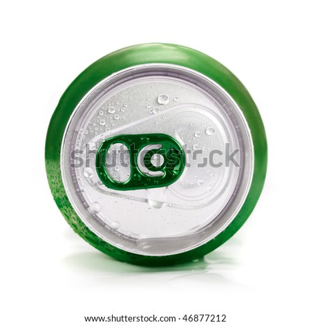 Green aluminum can closeup with water drops on a white