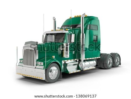 Green american truck isolated on white background