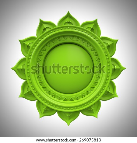 green Anahata heart chakra base, 3d abstract symbol, isolated color design element Stock photo ©