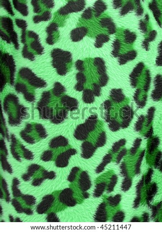 Green  and black camouflage faux fur leopard print backgound - stock photo