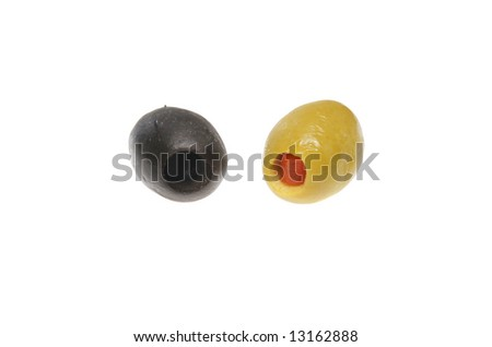 Green and black olives isolated on a white background