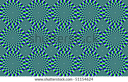 Green and blue concentric circles, which appear to move. Optical Effect