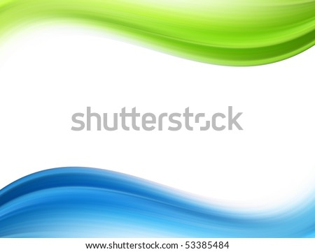 Green and blue dynamic waves over white background