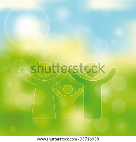 Green and blue light abstract background with family icon