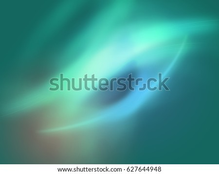 Green and blue lights illustration of abstract background - Light splashes and curved lines #627644948