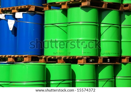 Green and blue oil drums