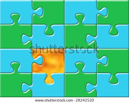 green and blue puzzle surface with one golden piece