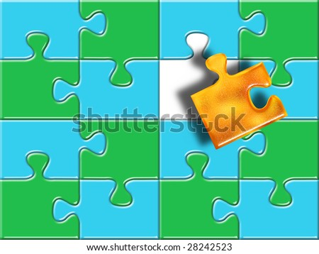green and blue puzzle surface with one missing golden piece - stock photo