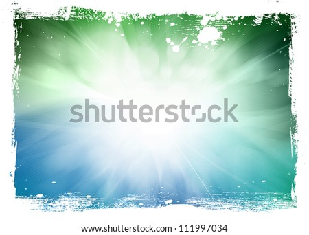 Green and blue smooth modern blurry  background with grungy border