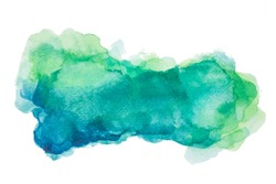 Green and blue texture with watercolor stains