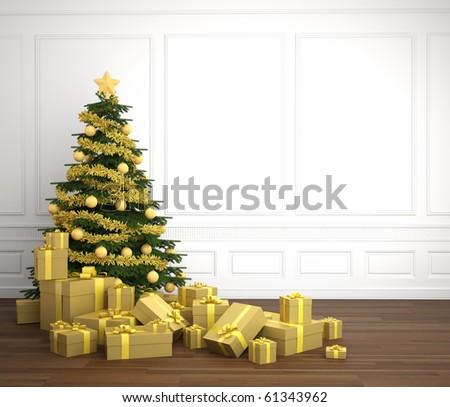 Green and golden christmas tree dacorated with a pile of presents in an empry white room, copy space placed right