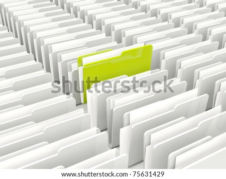 Green and grey folders