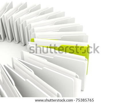 Green and grey folders isolated on white