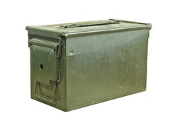 Green and old ammunition box on a white background