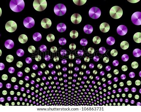 Green and Purple Fountain/Digital patterned image with a ball fountain design in green and purple on a black background.