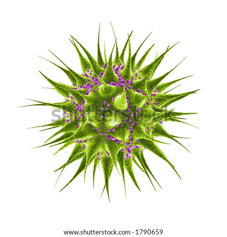 Green and purple microbe backteria germ - stock photo