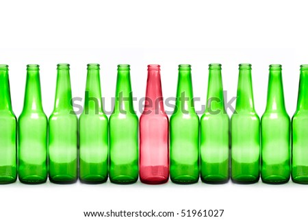 green and red bottles isolated on white
