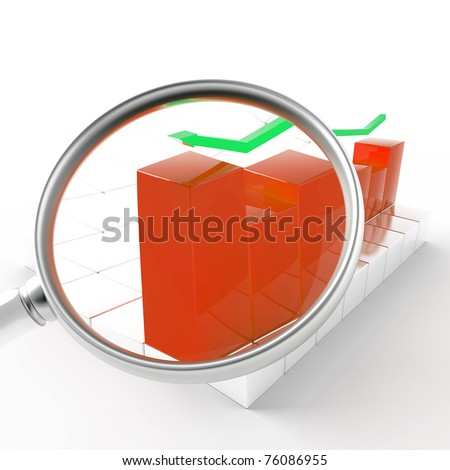 green and red charts under magnification on white background