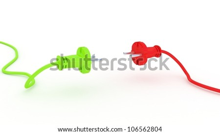 Green and red electric plug isolated on white background, 3D images