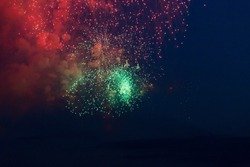Green and red fireworks