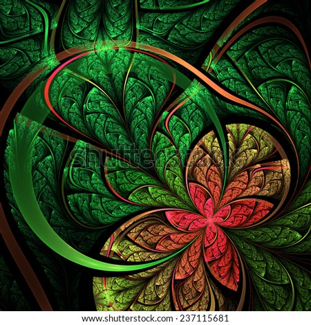 Stock Photo Green and red fractal flower, digital artwork for creative graphic design