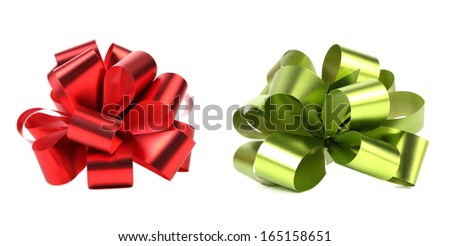 Green and red packaging bow. Isolated on a white background.