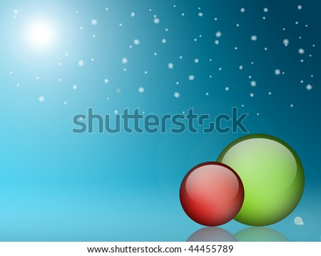 Green and red spheres over blue sky background. Space to insert text or design