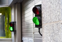 Green and Red Stop Light in garage